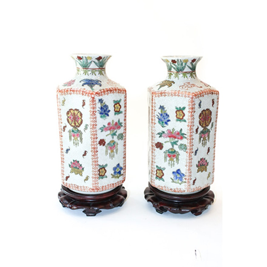 Pair Of Chinese Hand Painted Vases With Rosewood Stands Ebth