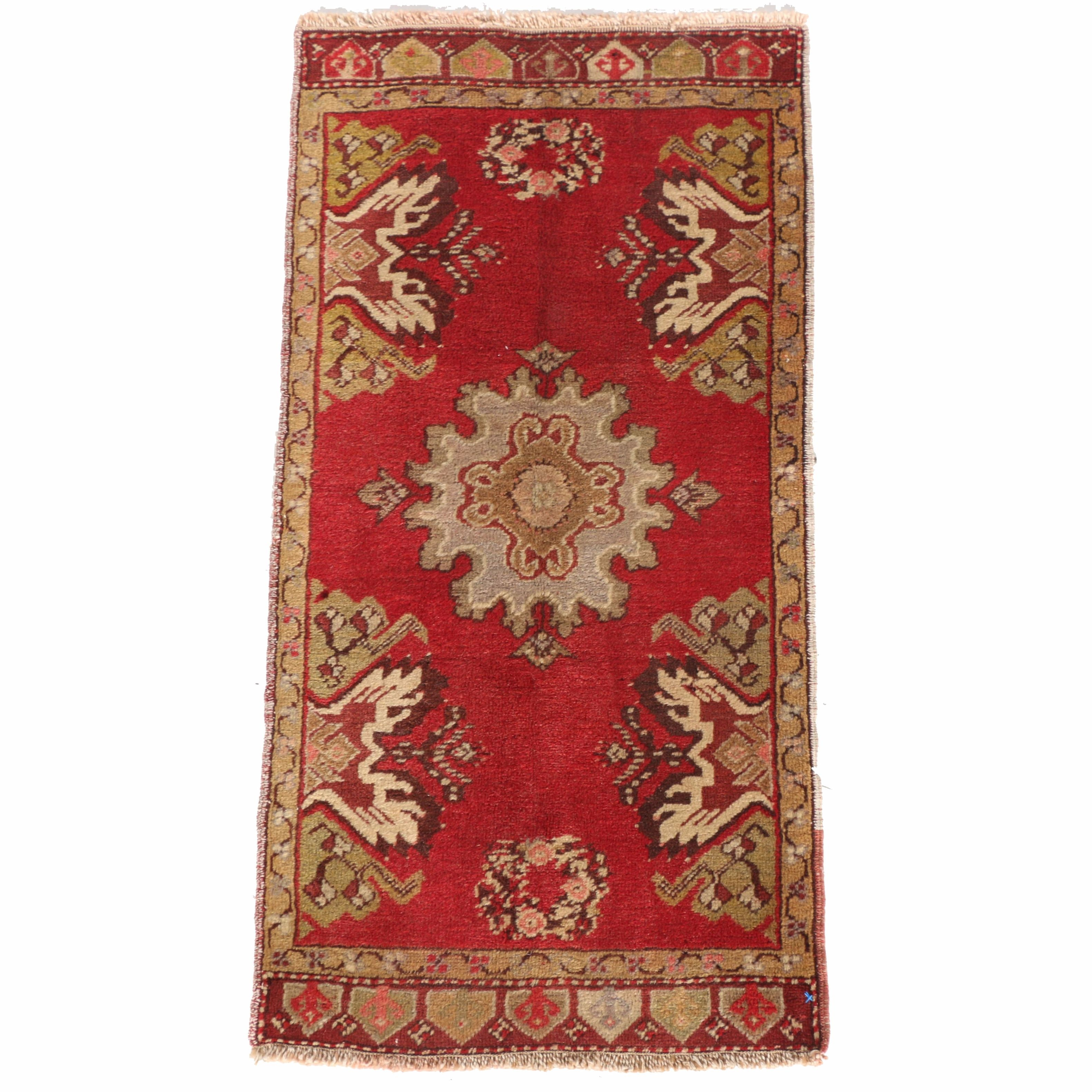 Vintage Hand-Knotted Turkish Anatolian Accent Rug