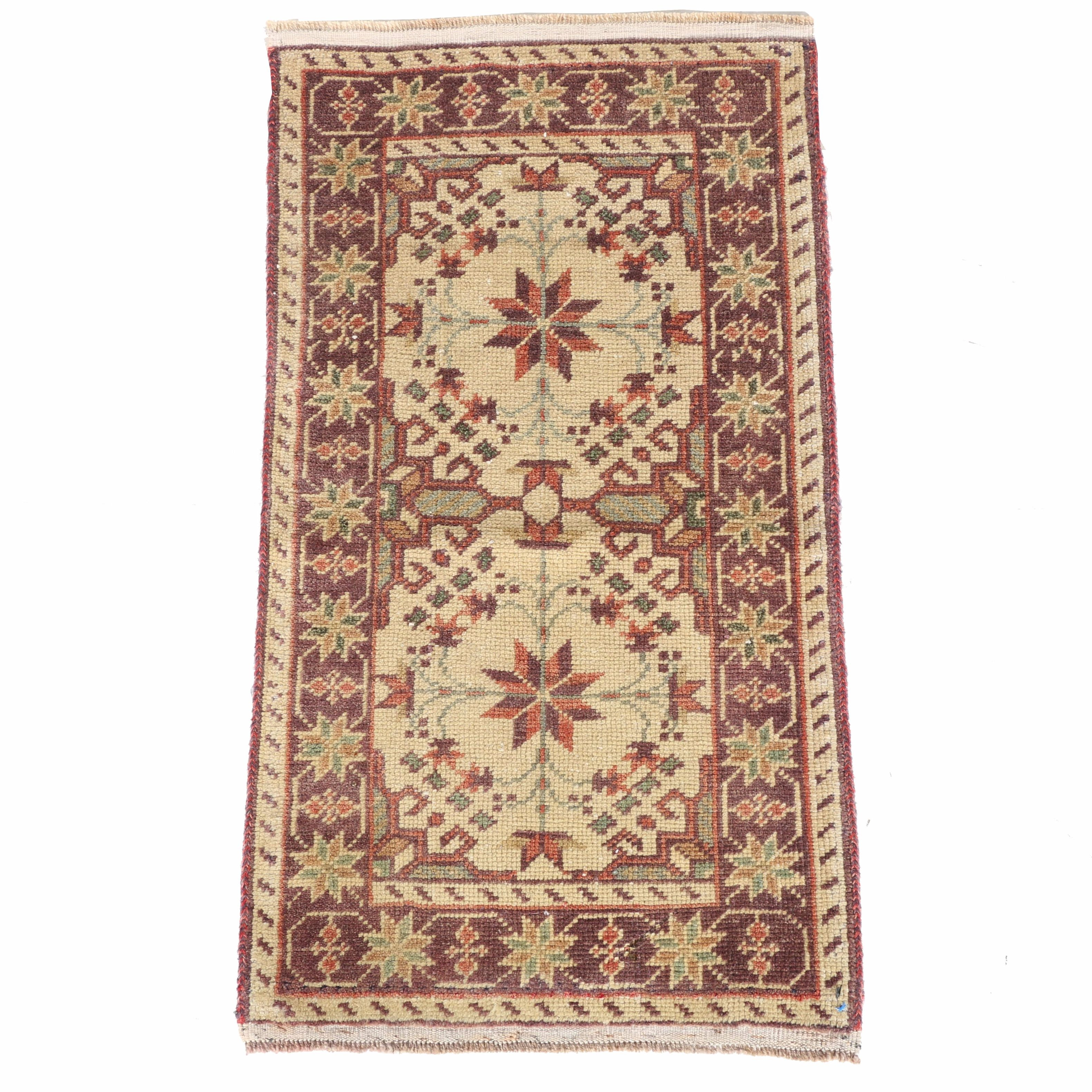 Vintage Hand-Knotted Turkish Oushak Accent  Rug