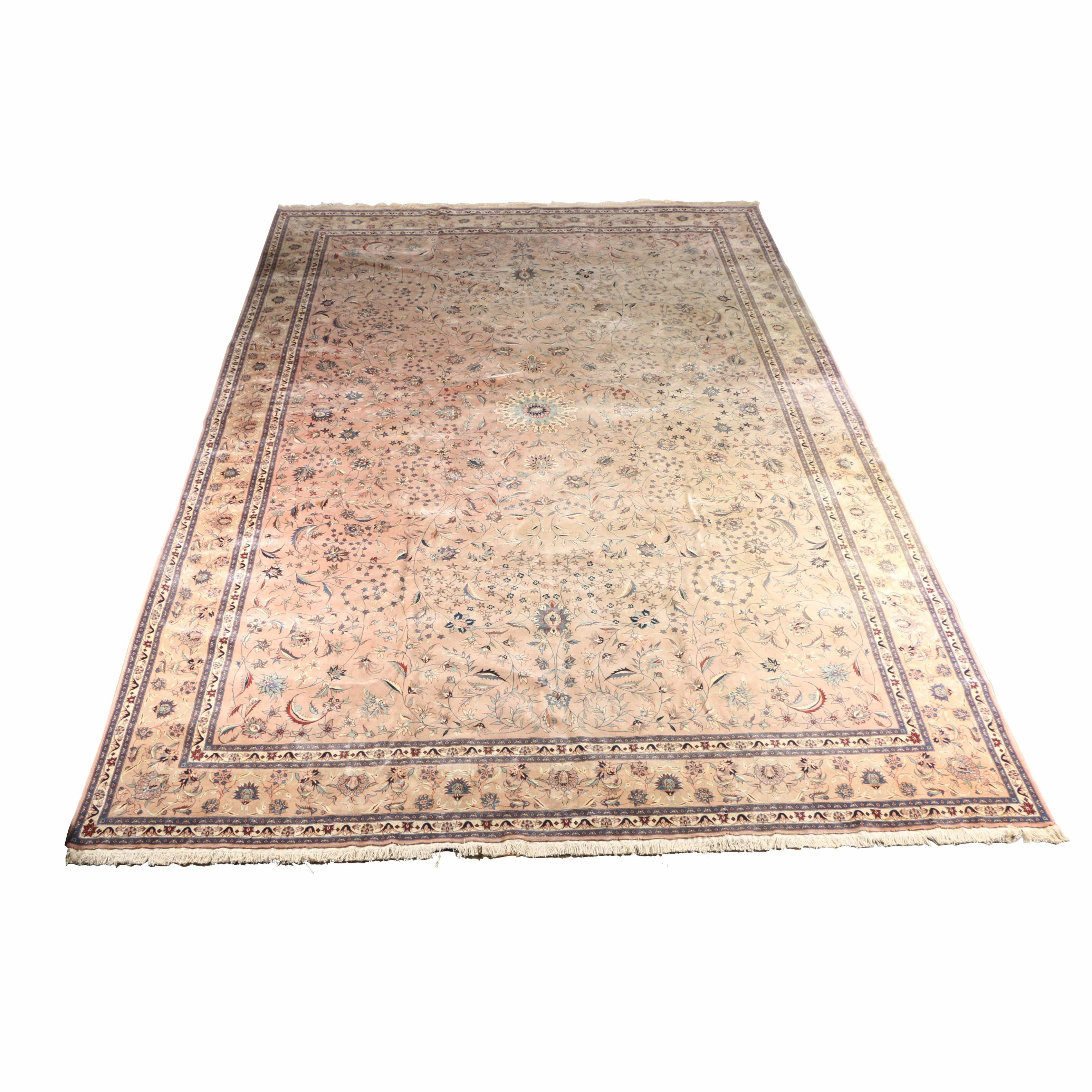 Large Hand-Knotted Persian Tabriz Area Rug