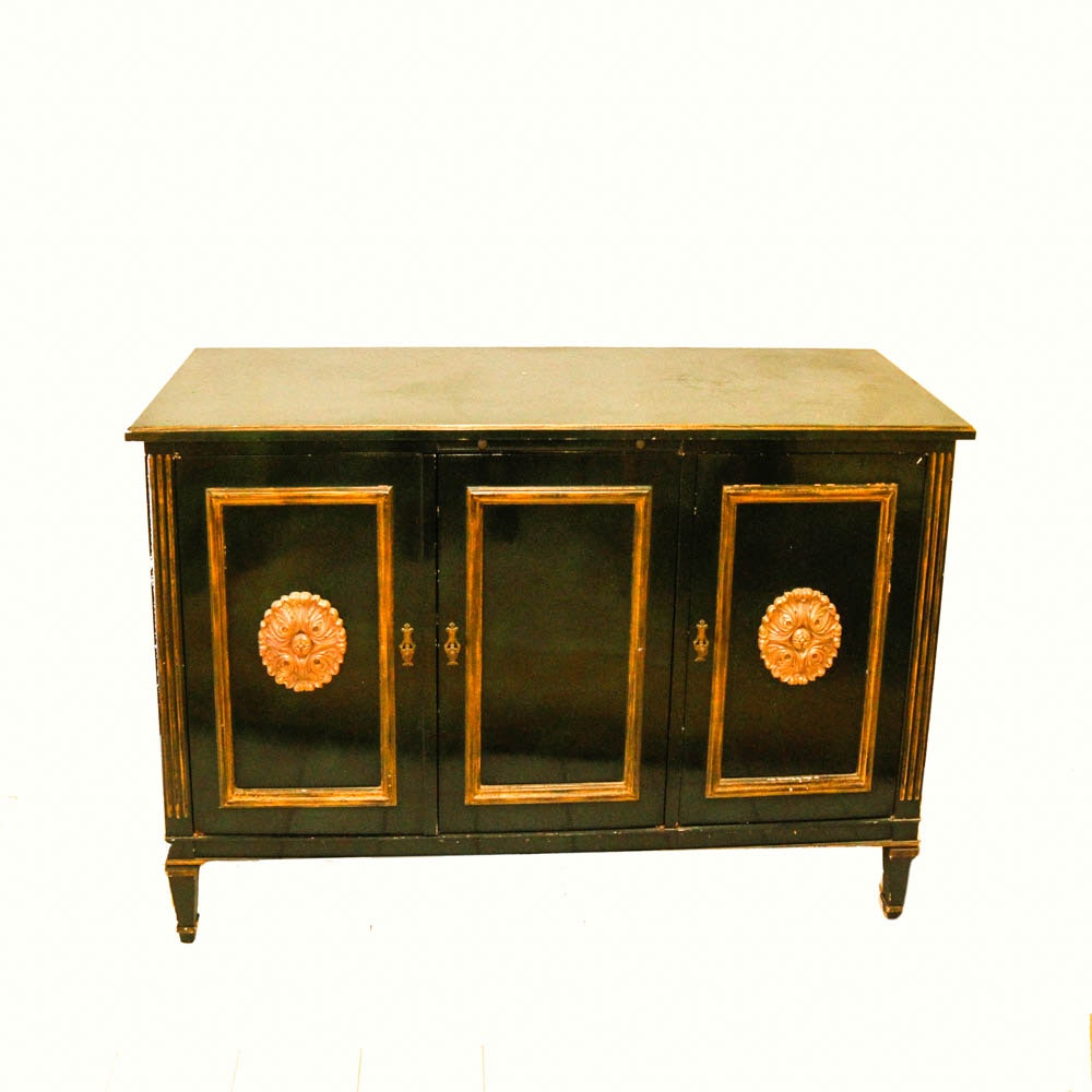 Neoclassical Style Black and Gold Tone Wooden Sideboard