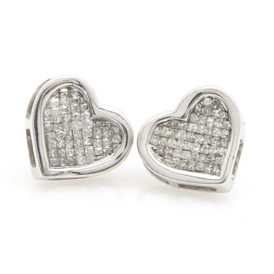 14K White Gold Diamond Heart Shaped Stud Earrings | EBTH