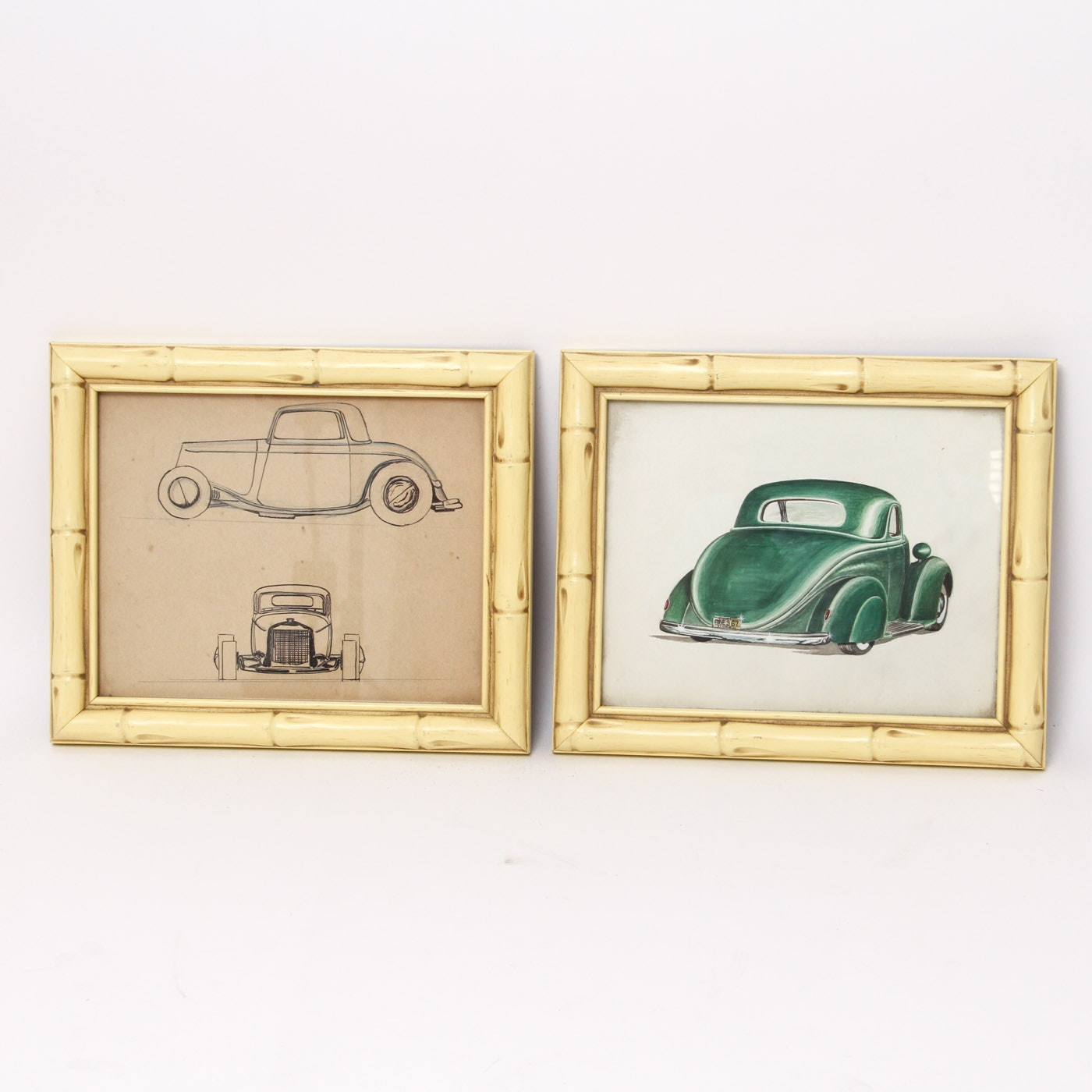 Framed Pen And Ink And Watercolor Drawings Of Vintage Cars Ebth