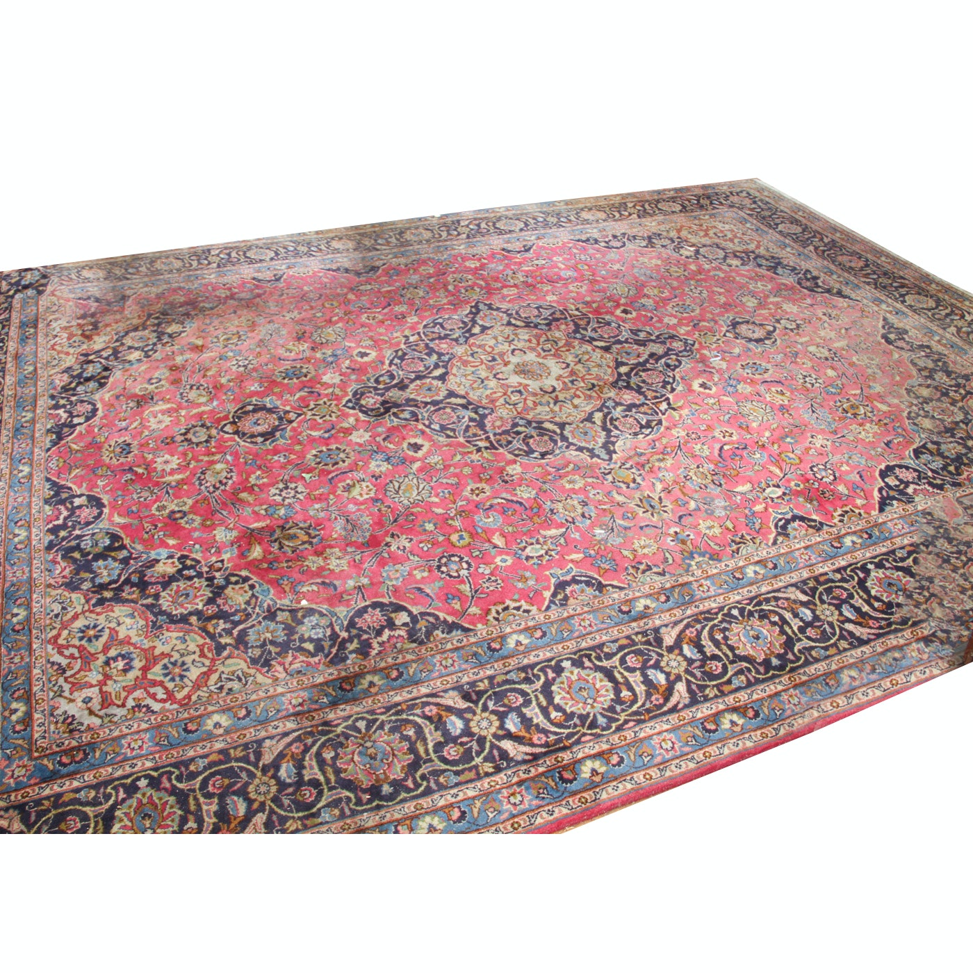 Large Hand-Knotted Kashmar Wool Area Rug