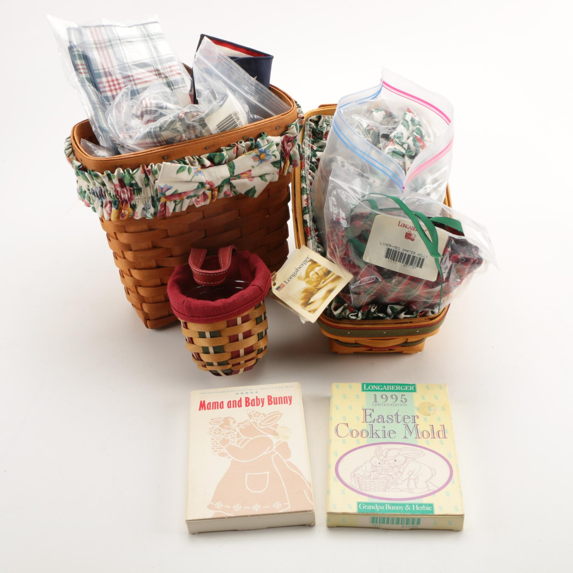 Longaberger Baskets With Decorative Cloth Linings and Cookie Molds