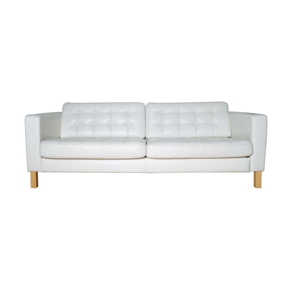 "Landskrona"" Tufted Leather Sofa by IKEA EBTH"