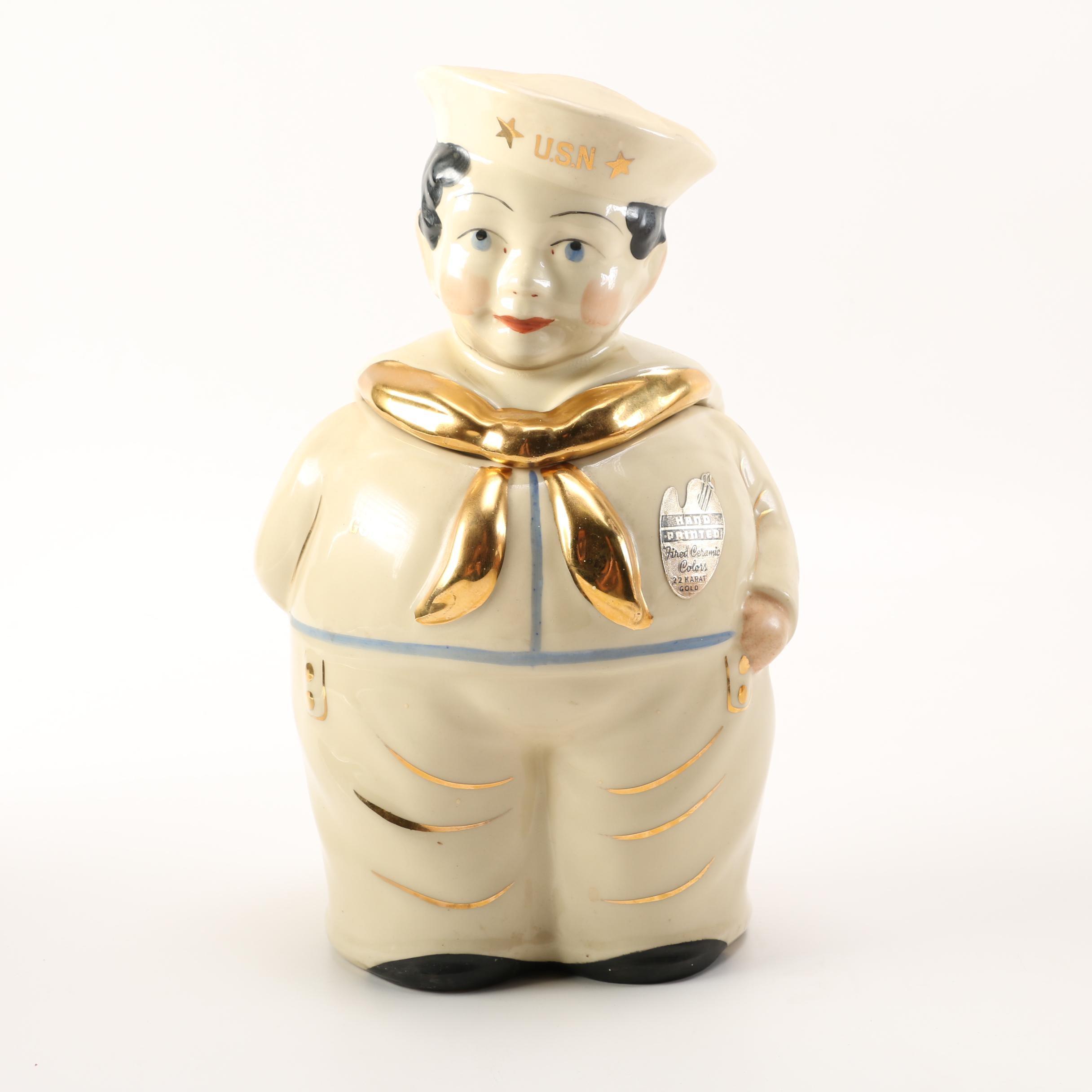 "Vintage Shawnee Pottery ""U.S.N. Sailor Boy"" Ceramic Cookie Jar With 22K Gold"