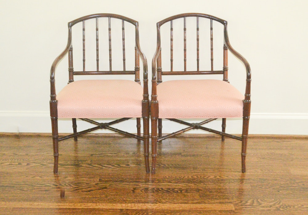 Pair of Faux Bamboo Armchairs