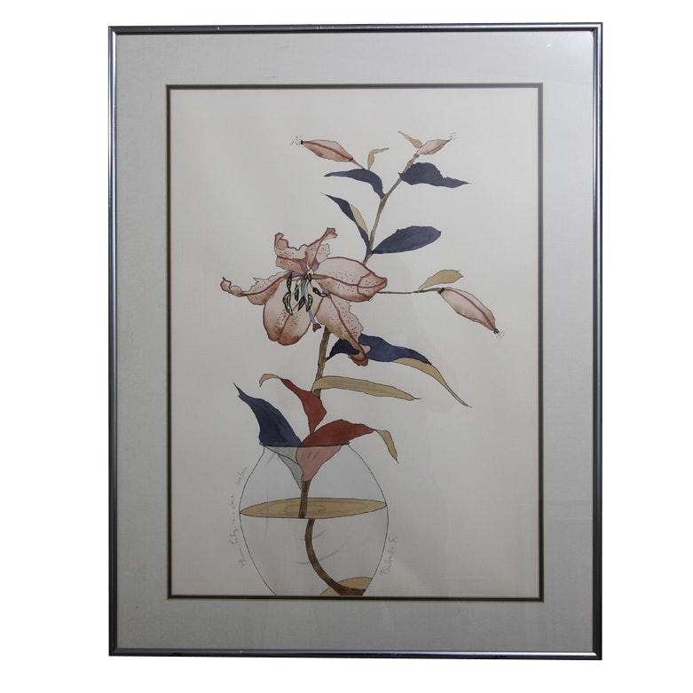"Babette Eddleston Serigraph on Paper ""Plum Lily in a Vase"""