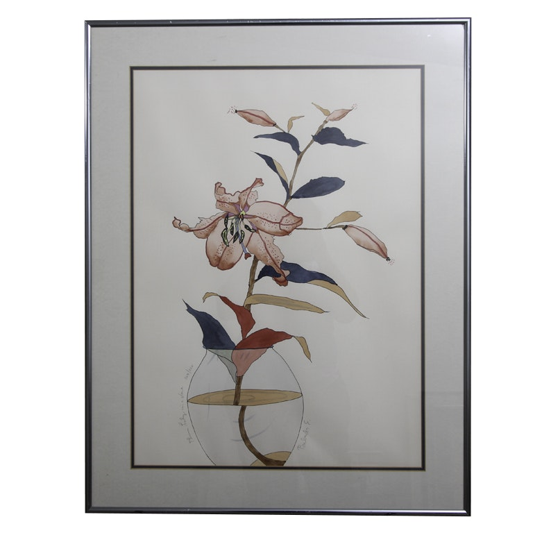 "Babette Eddleston Serigraph on Paper ""Plum Lily in a Vase"""