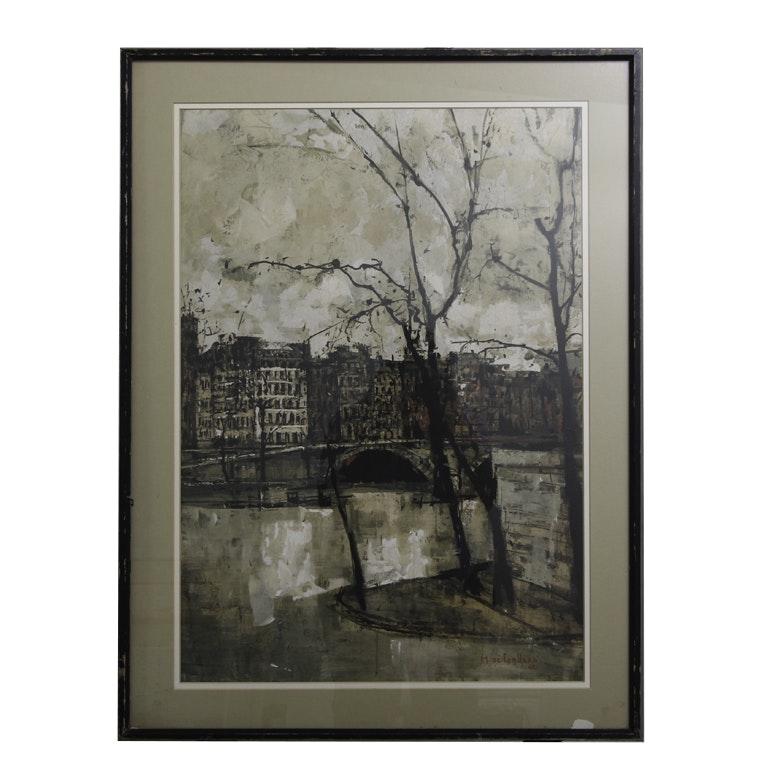 """Print After Michel de Gallard's """"Le Pont Louis-Philippe"""""""