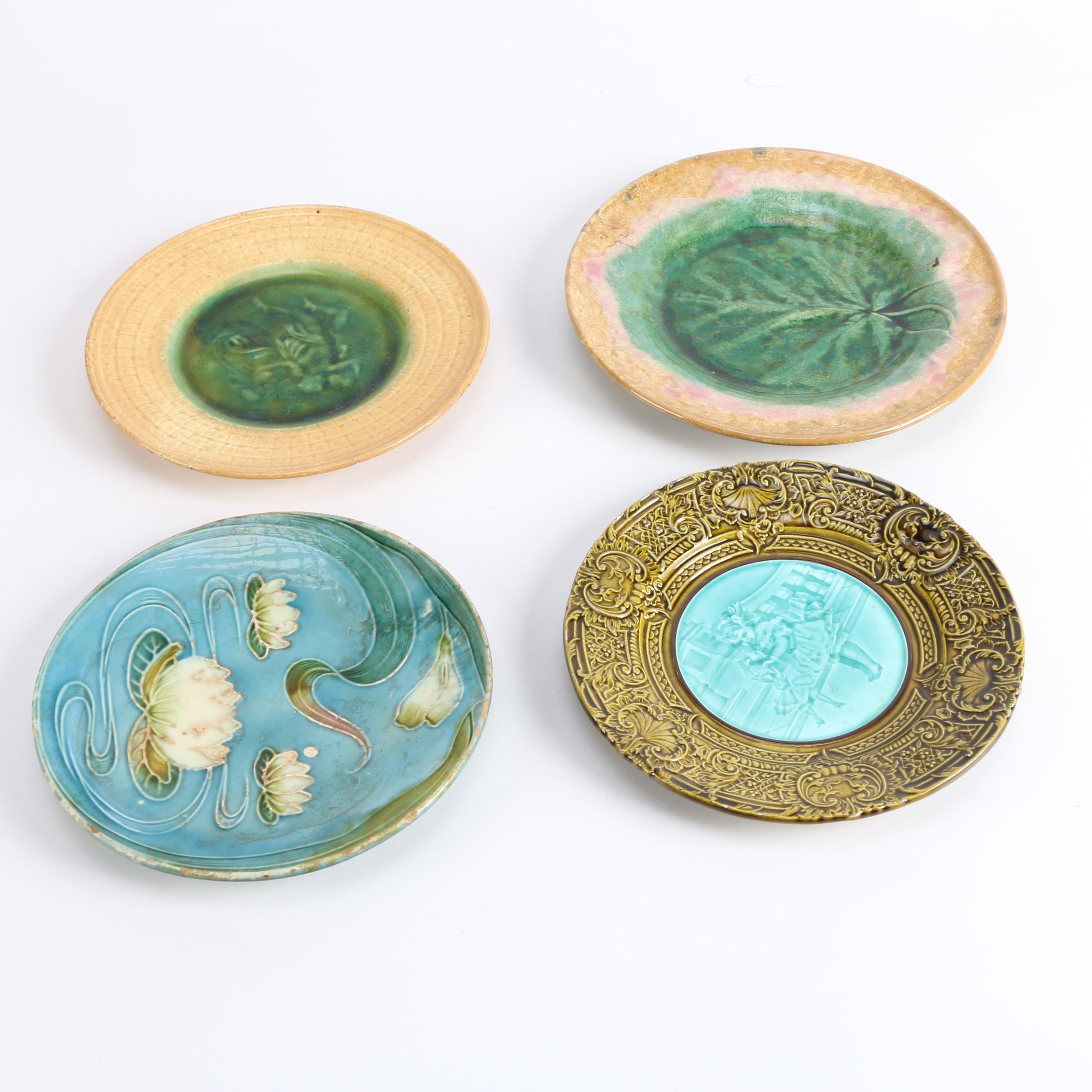 Decorative Majolica Plates Including Etruscan Majolica