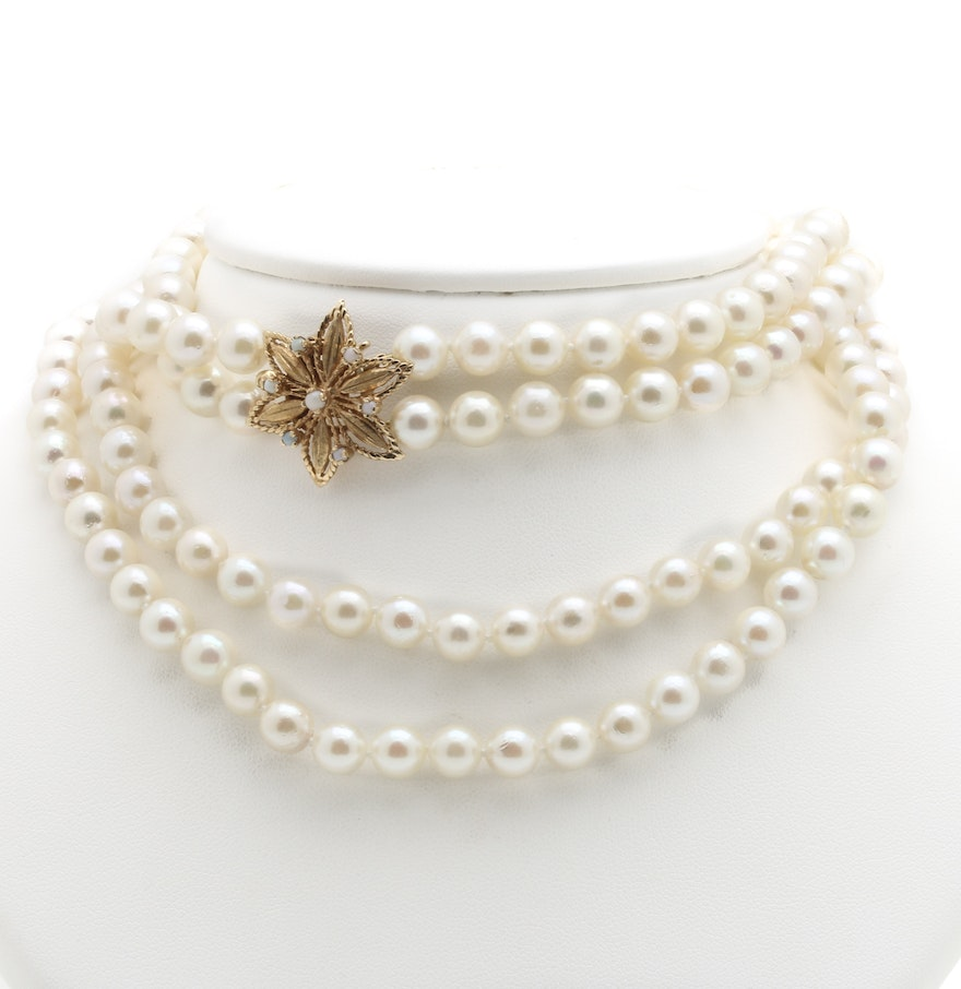 Double Stranded Cultured Pearl Necklace With 14k Yellow Gold Opal Flower  Clasp