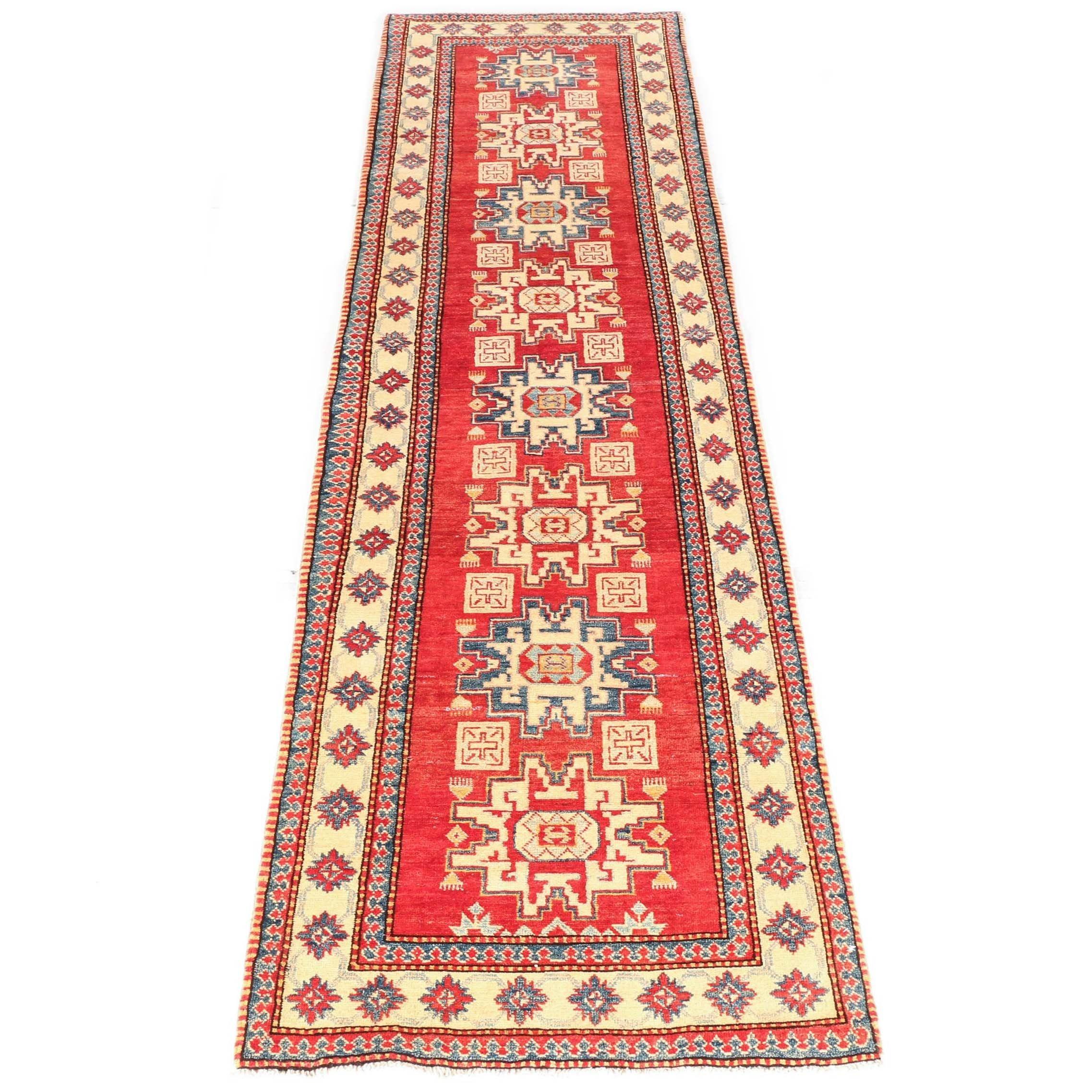 Hand-Knotted Caucasian Lesghi Carpet Runner