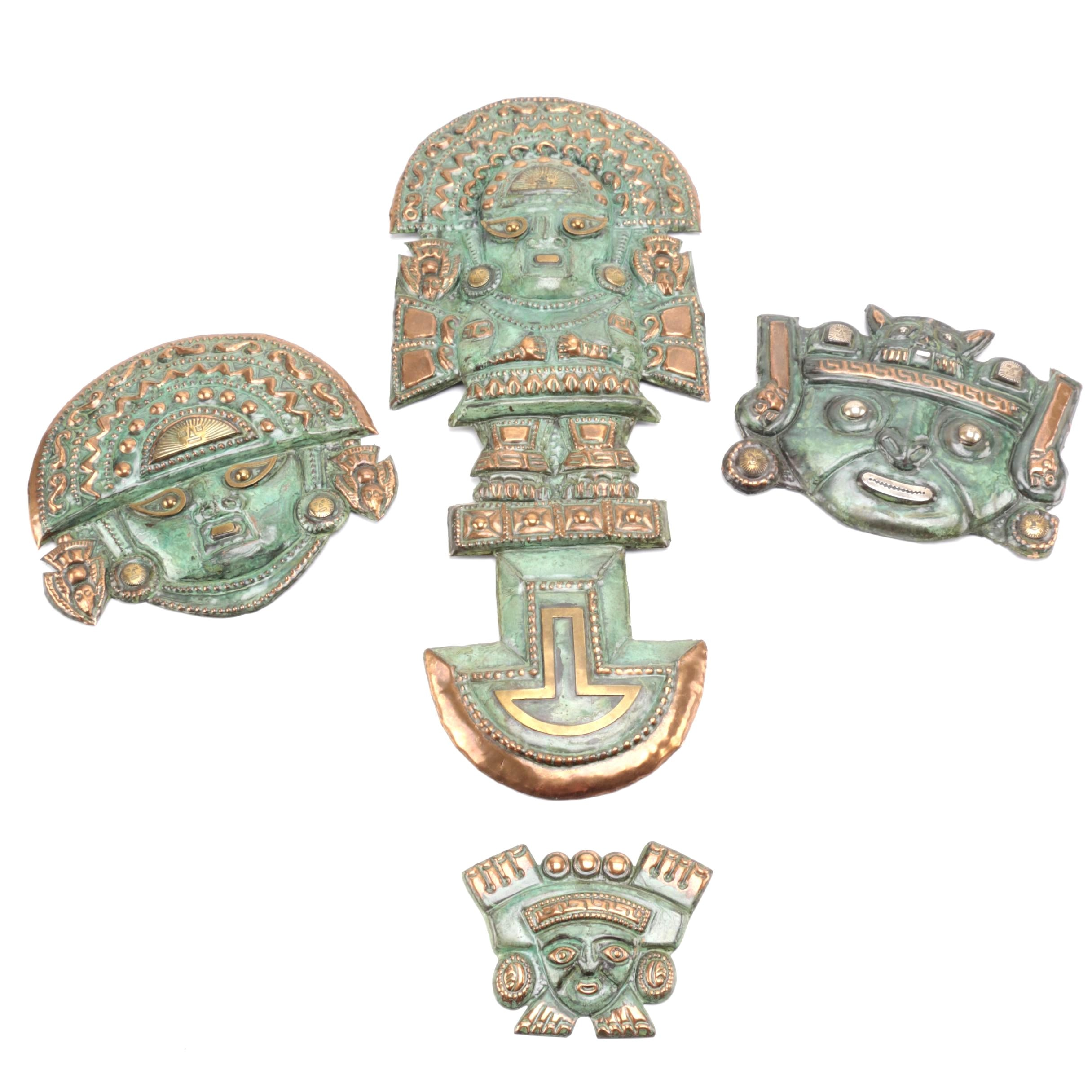 Metal Mayan Inspired Masks with Gold Tone and Copper Tone Accents