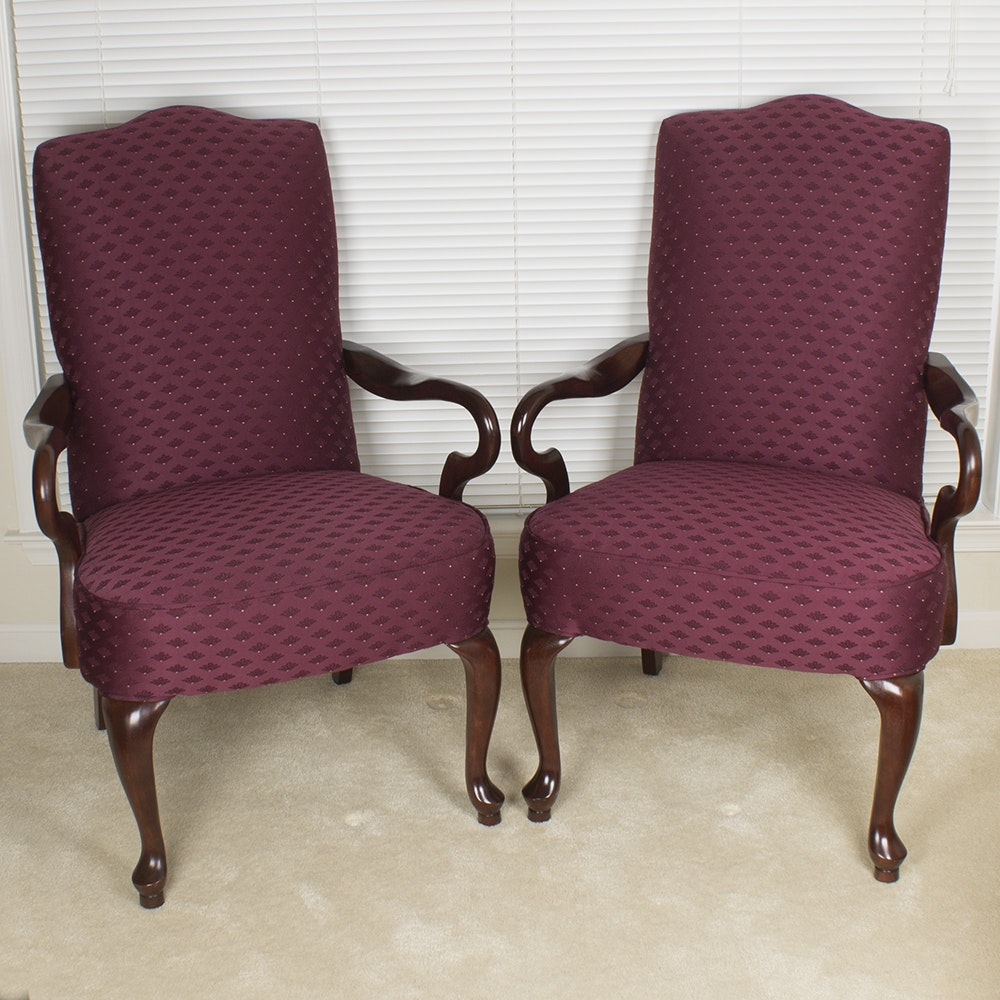 Pair of Queen Anne Style Armchairs by Les Brown Chair Co.