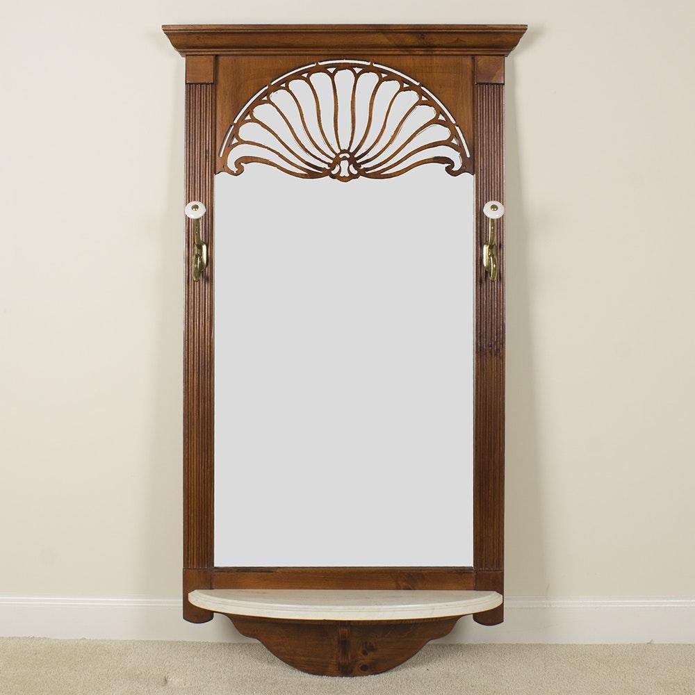 Pulaski Wooden Hall Mirror With Hooks And Shelf Ebth