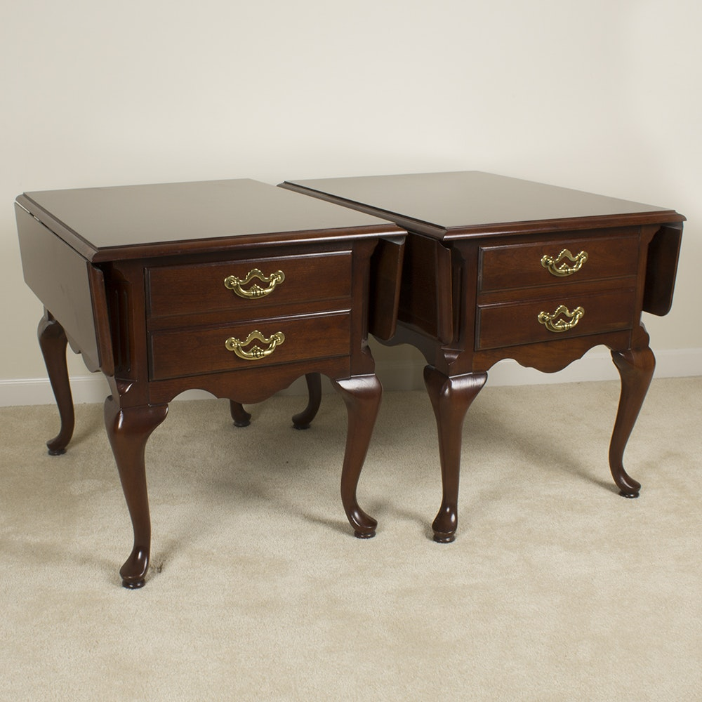 Pair of Queen Anne Style Drop Leaf Accent Tables by Thomasville