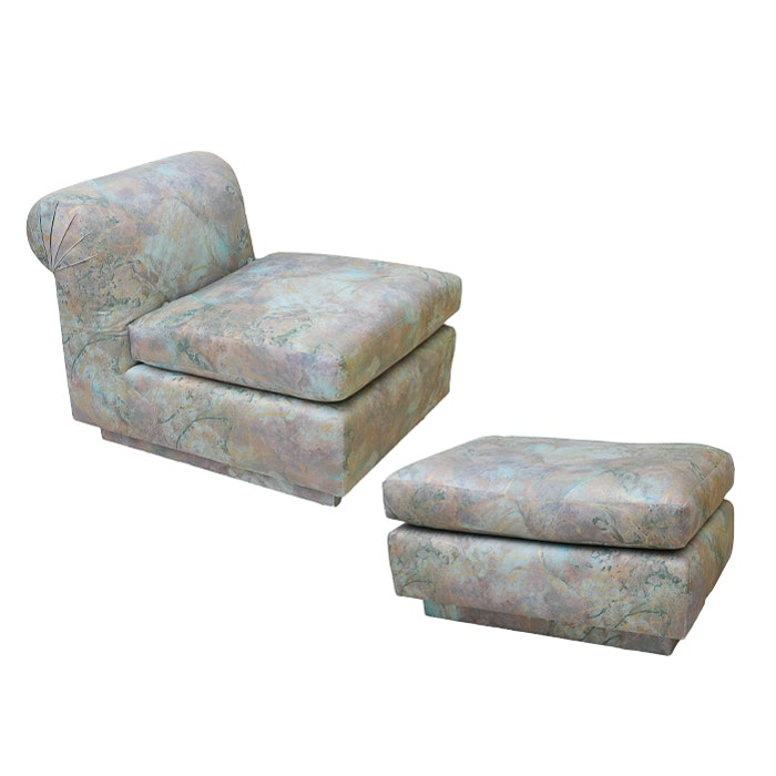 Vintage Upholstered Chair and Ottoman