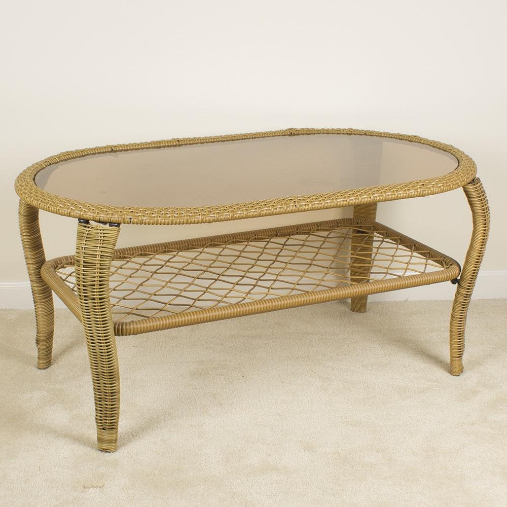 Oval Glass Top Wicker Coffee Table