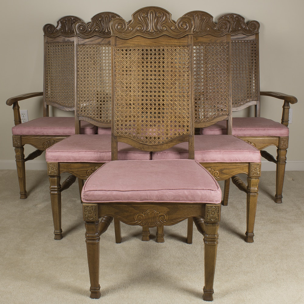 Set of Six Pink Upholstered Wooden Dining Chairs