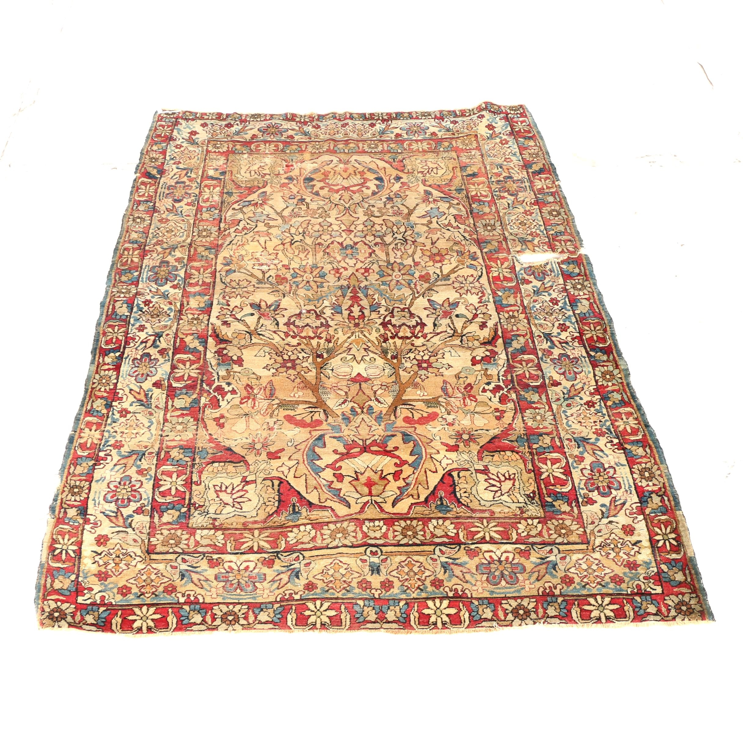 Antique Hand-Knotted Persian Bakhtiari Area Rug