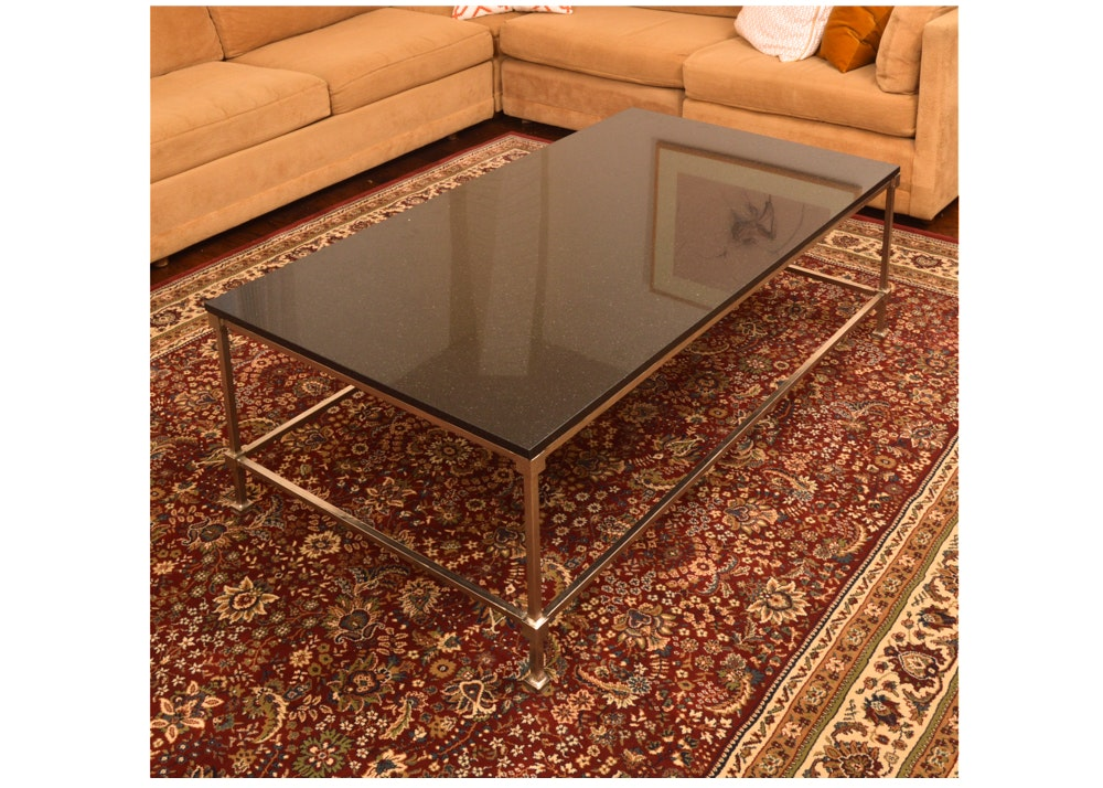 Metal Coffee Table With Stone Top