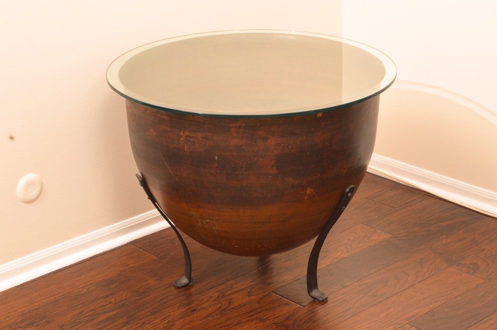 Metal Drum Table With Glass Top