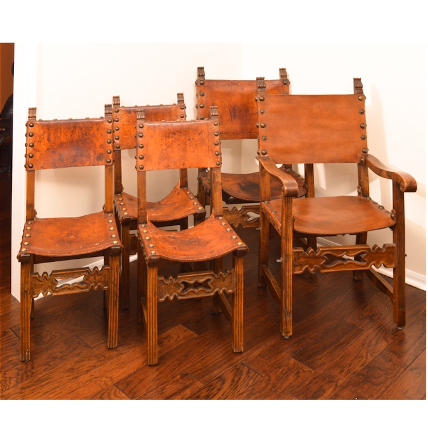 Five Spanish Colonial Revival Leather Dining Chairs