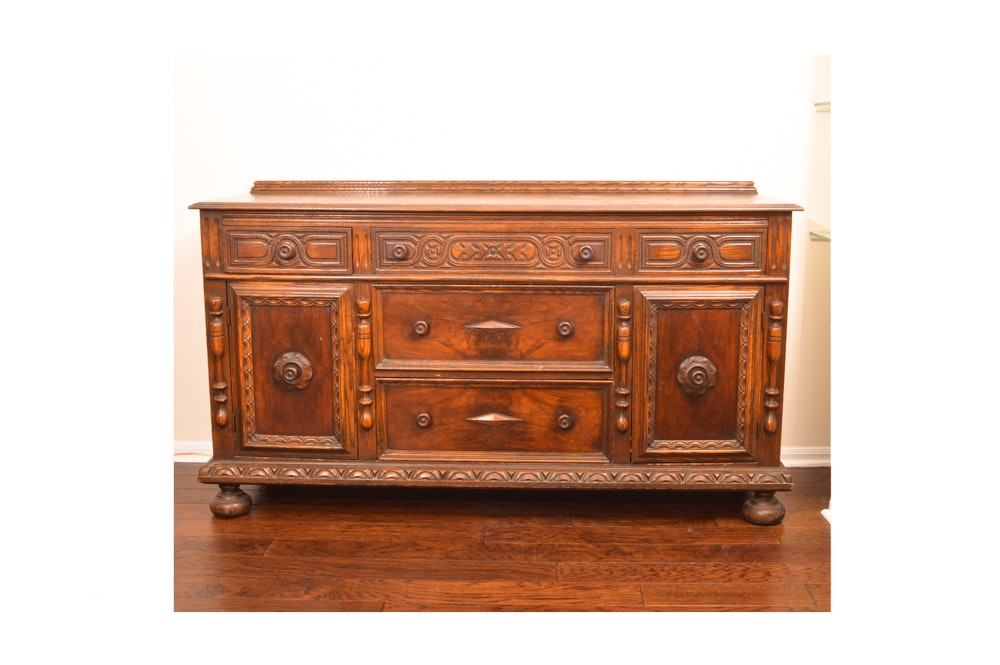Vintage Jacobean Revival Oak Sideboard