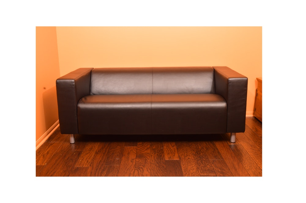 Modernist Black Leather Sofa