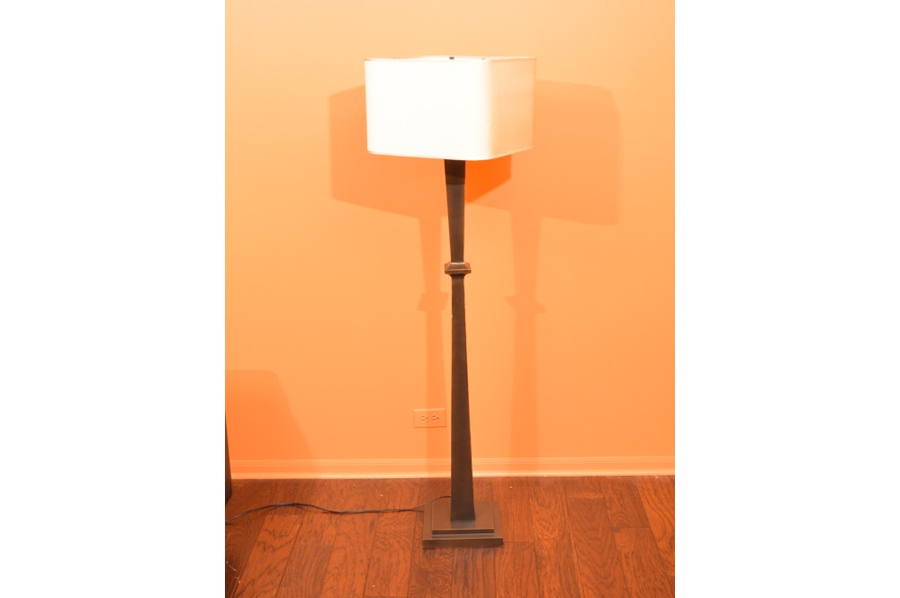 Arts and Crafts Style Copper Toned Floor Lamp