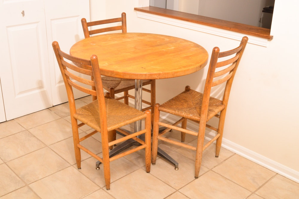 Rush Seat Dining Chairs and Table