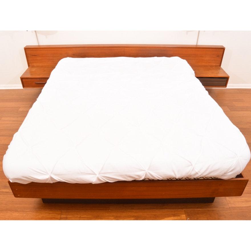 Danish Modern Teak Expanded Queen Platform Bed With Floating Nightstands