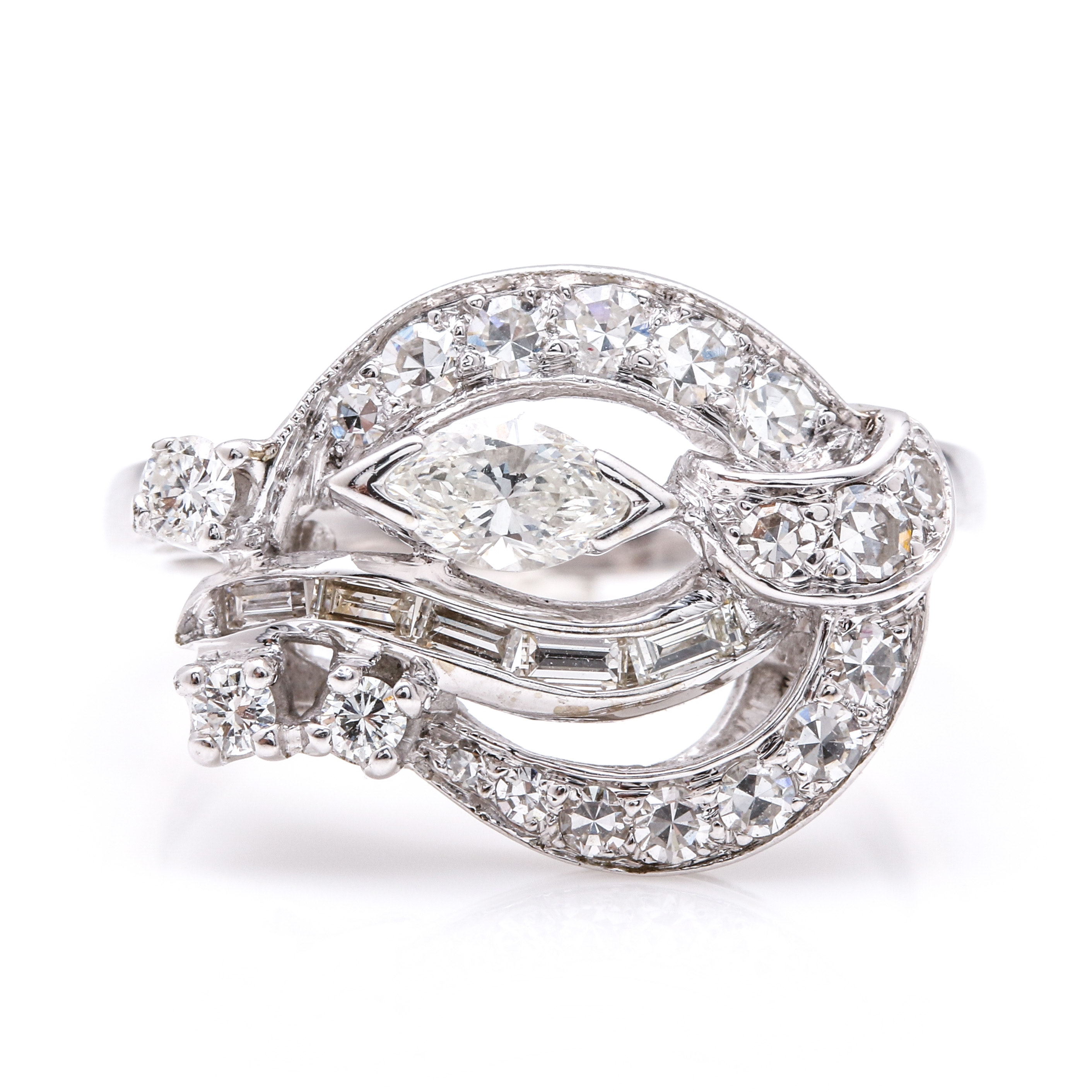 14K White Gold Fancy Diamond Ring
