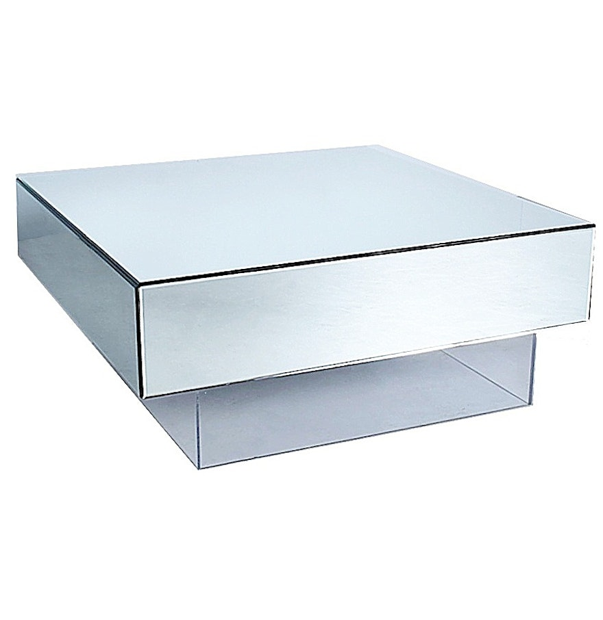Jonathan Adler Contemporary Mirrored Coffee Table On Lucite Base Ebth