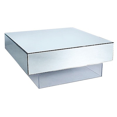 Jonathan Adler Contemporary Mirrored Coffee Table on Lucite Base