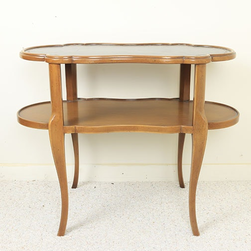 Vintage Two Tier Leather Top Side Table by Kent of Grand Rapids