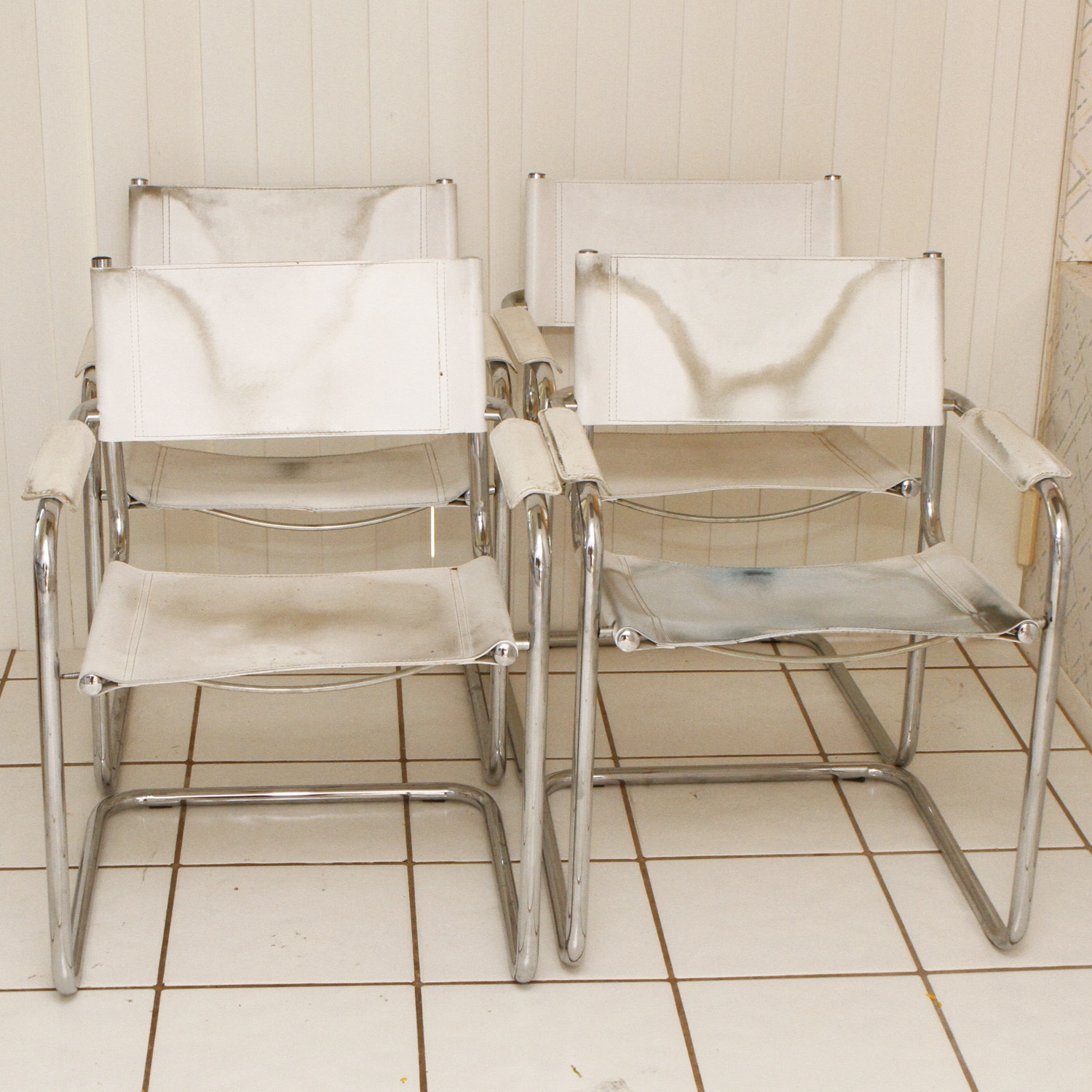 Vintage Leather and Chrome Cesca Style Chairs