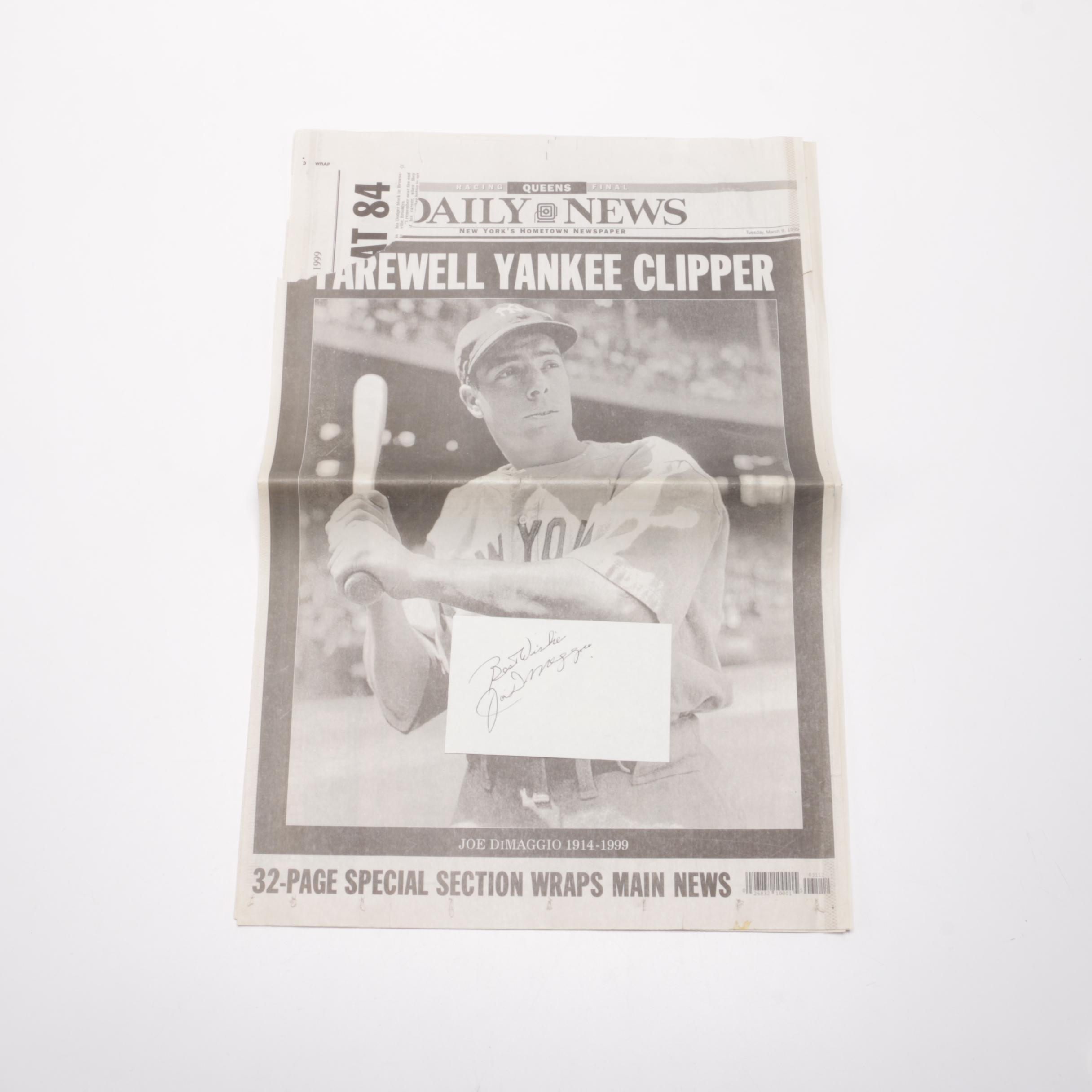 "Joe DiMaggio Autograph and ""Farewell Yankee Clipper"" Newspaper Article"