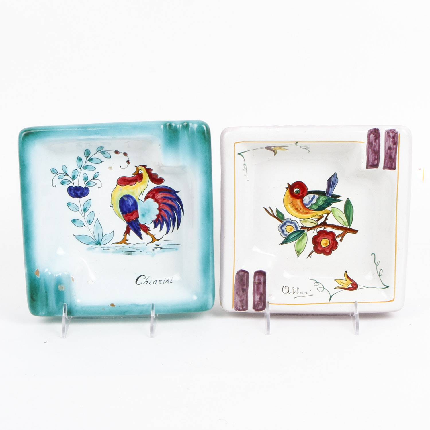 Italian Hand Painted Ceramic Ashtrays