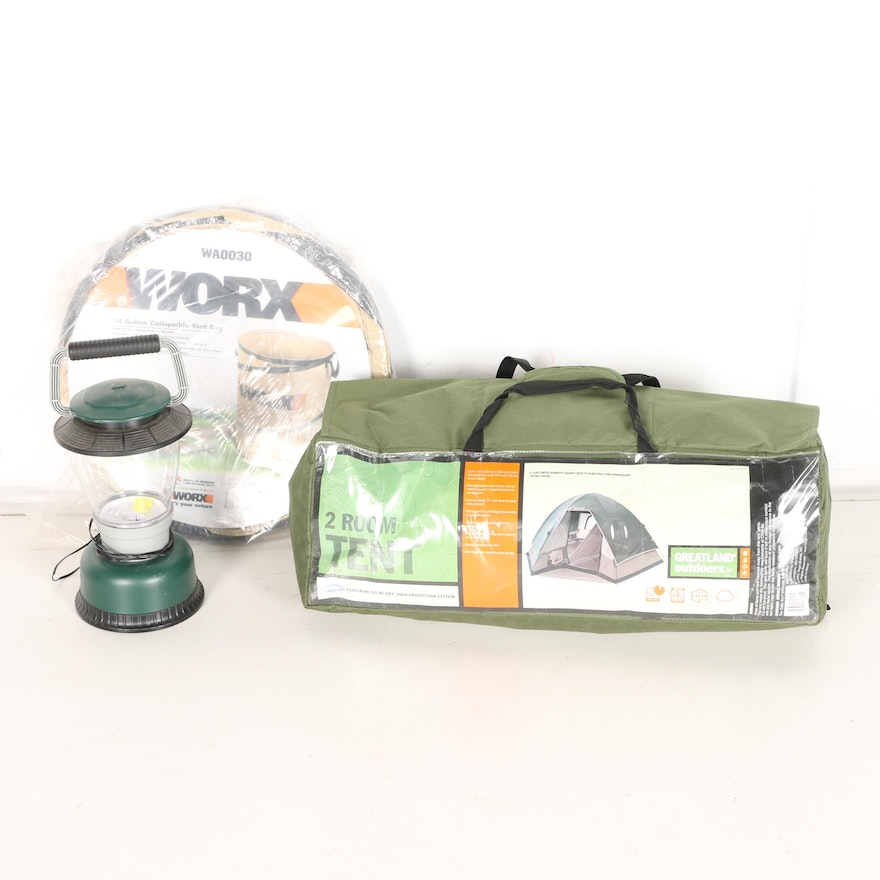 Greatland Outdoors Two Room Tent with Lantern and Collapsible Basket