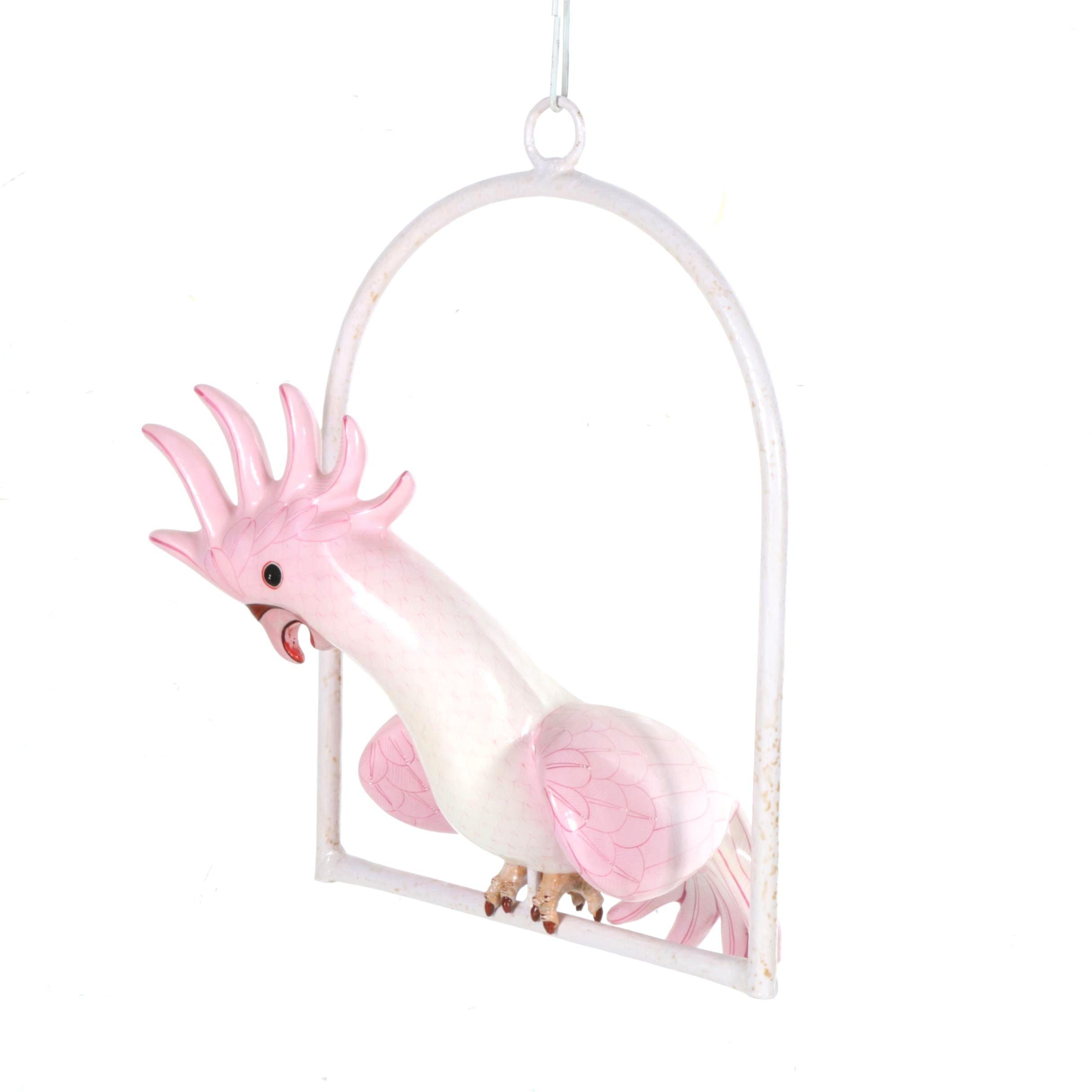 Hanging Pink Paper Mache Cockatiel Decor