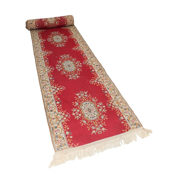 Machine Woven Papillian Red Wool Rug Runner