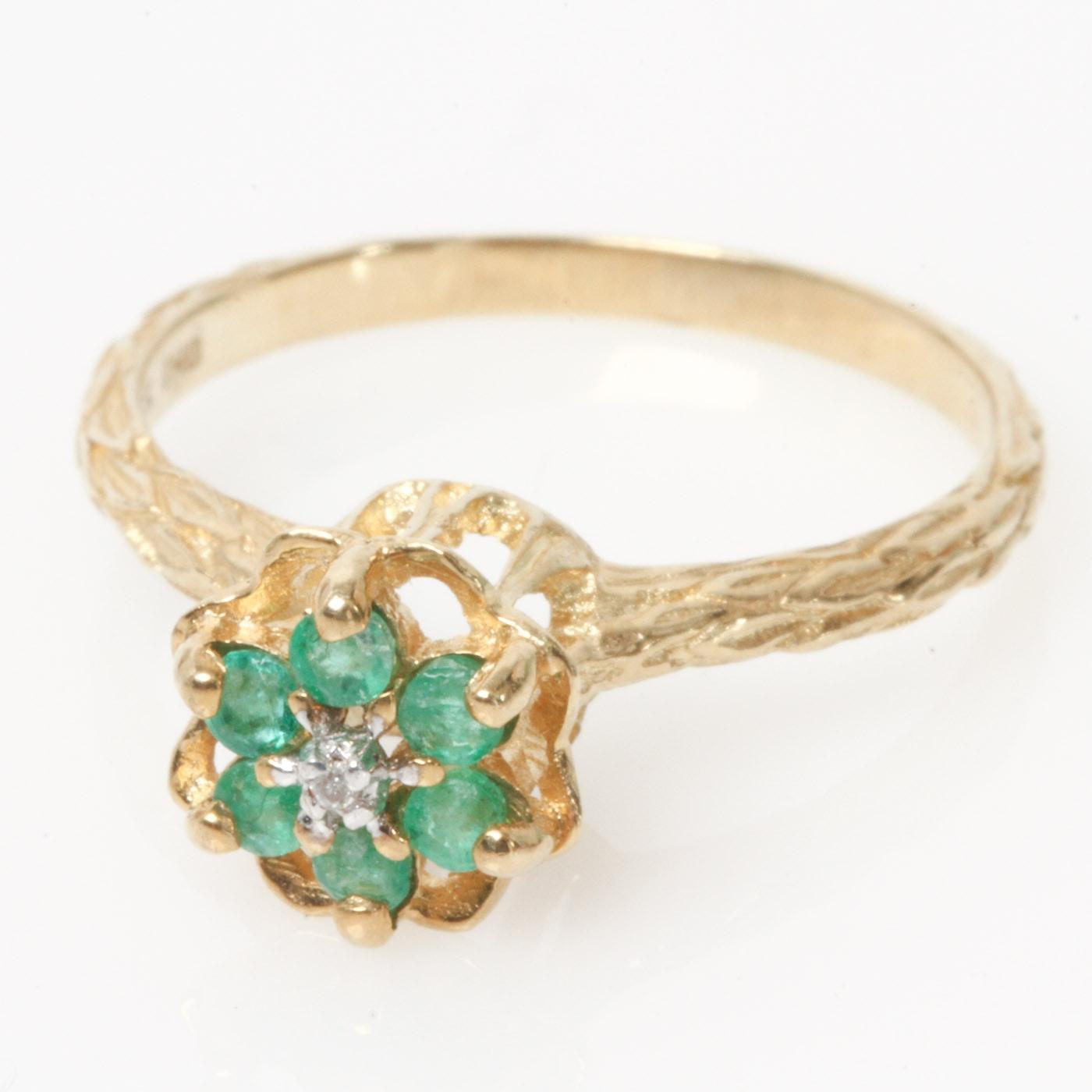 Samuel Aaron Retro 10K Yellow Gold High Set Emerald and Diamond Ring