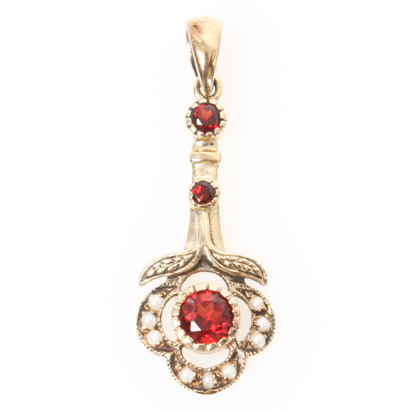 Victorian 10K Yellow Gold, Garnet, and Seed Pearl Drop Pendant