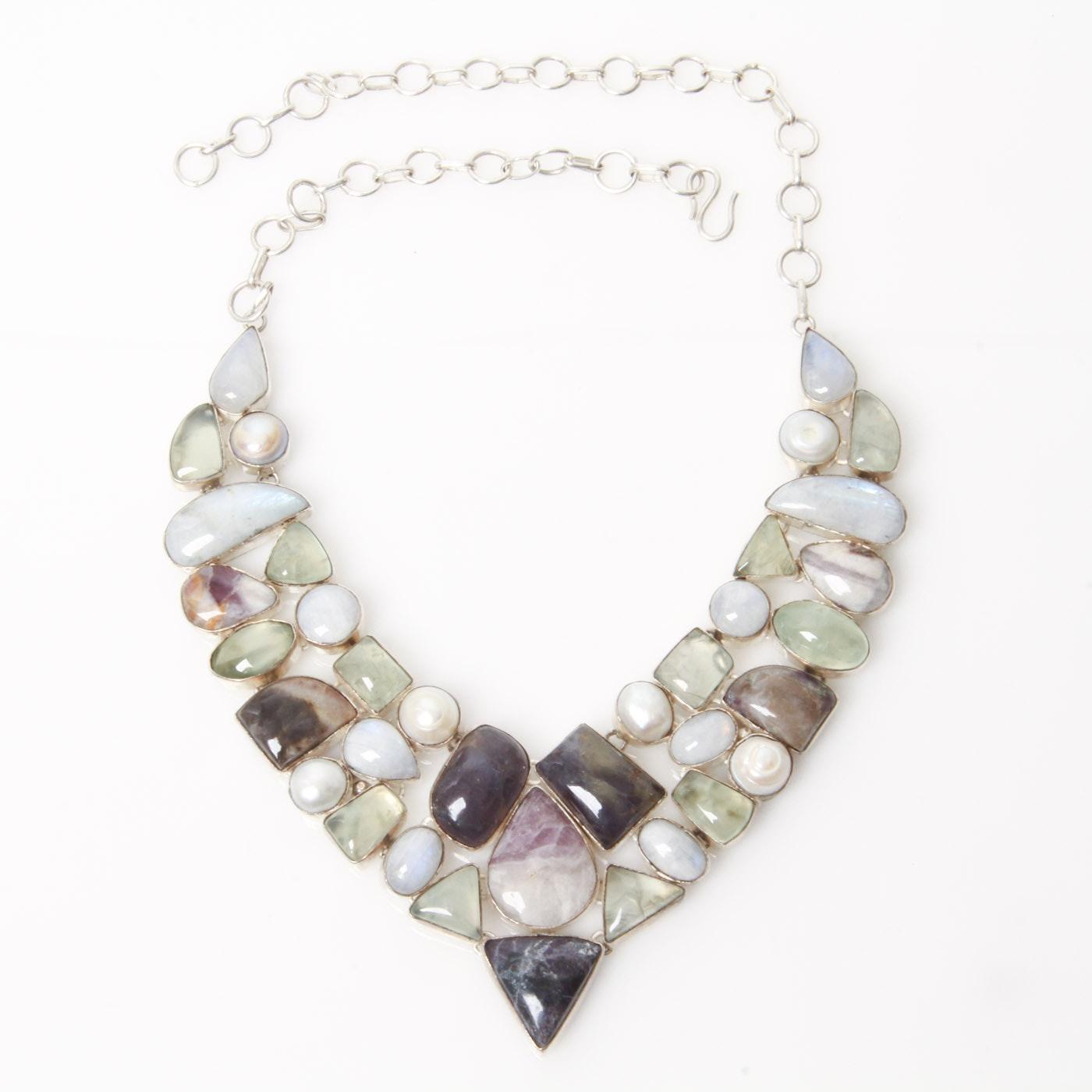Labradorite, Baroque Pearl, and Agate Bib Necklace