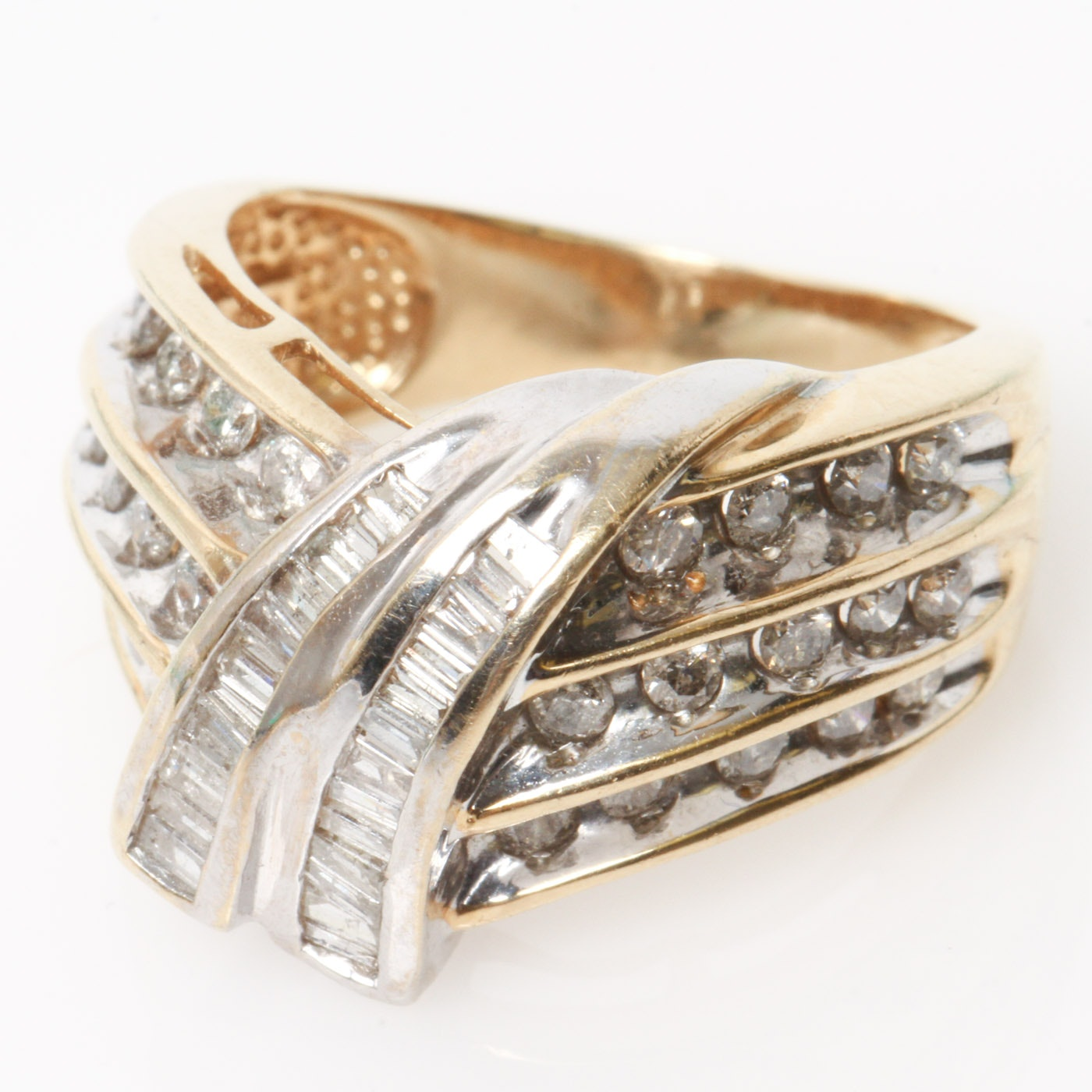 14K Two-Tone Gold and Multi-Row Diamond Bypass Ring