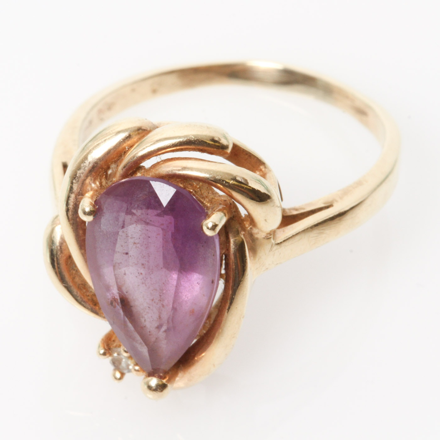 14K Yellow Gold, Pear Cut Amethyst, and Diamond Cocktail Ring