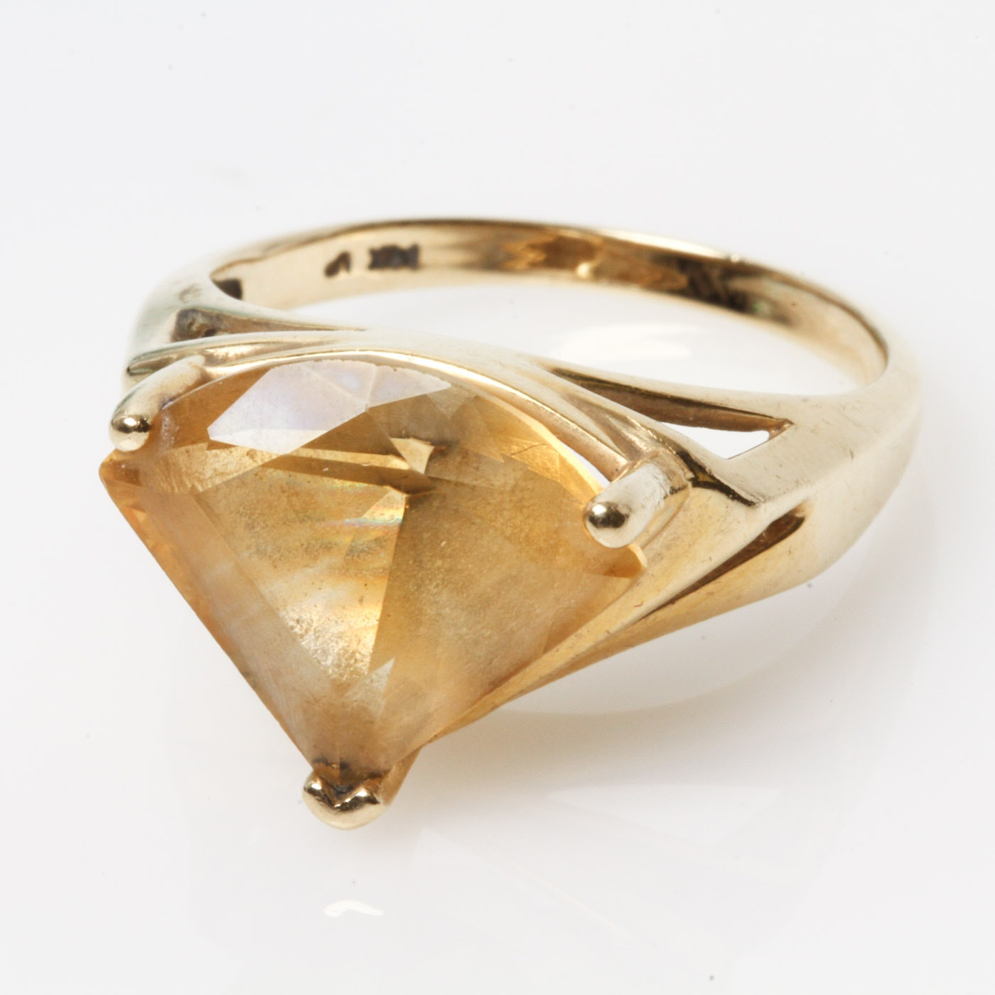 Art Deco 14K Yellow Gold and 5.85 CTS Fan Shaped Citrine Ring